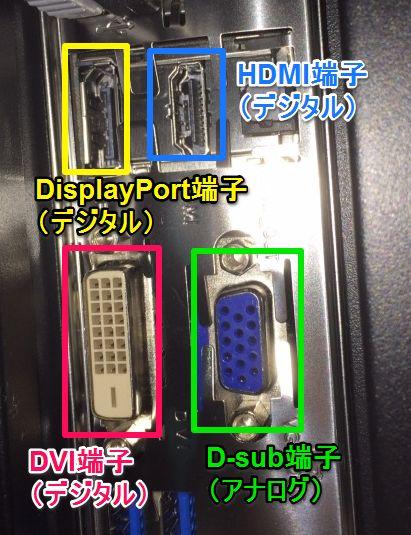 デュアルモニターケーブル端子の種類
