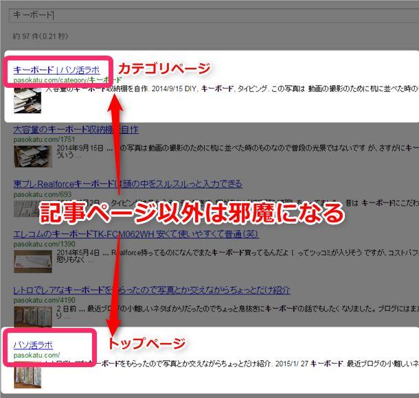 キーボードでカスタム検索すると、カテゴリページとトップページが表示されてノイズになってしまいます。