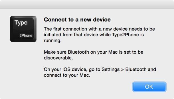 まずiOSデバイスでBluetooth設定を確認するようにメッセージがでる