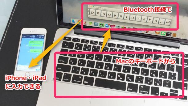MacのキーボードからBluetooth接続でiPhone・iPadに入力できる