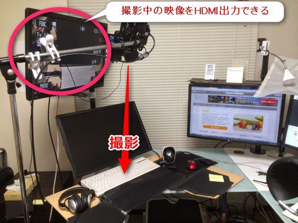 映像を液晶モニタに写しながら撮影している様子。HDMI端子で接続している。