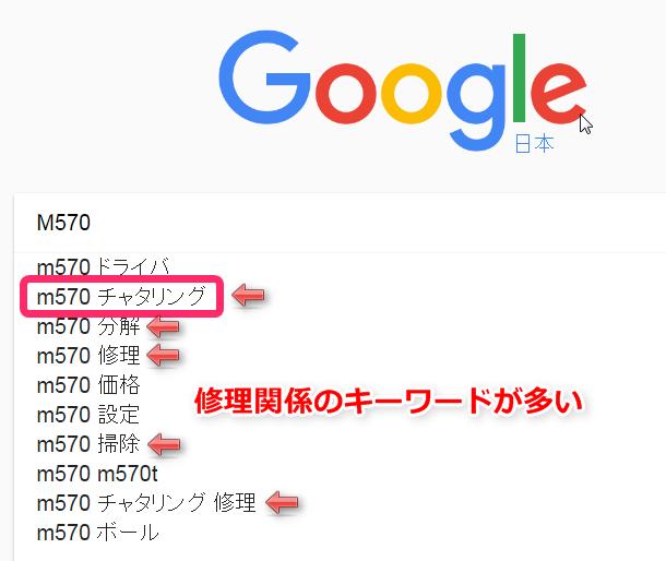 Google検索でM570を入力した時のサジェスト候補。修理関係のワードが多い。