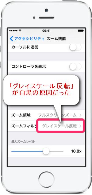 iPhoneグレイスケール反転