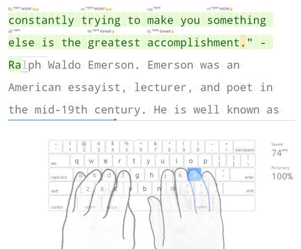 TypingClubの英文問題。画面下に指のガイドが表示される。