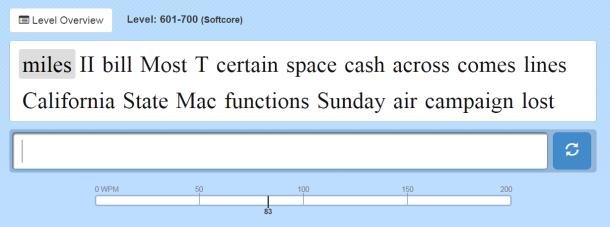 10FastFingersの600~700単語の問題。大文字が含まれる問題も増えてくる。