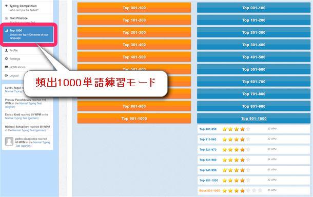 10FastFingersの1000単語練習モードをすべて終了したところ。