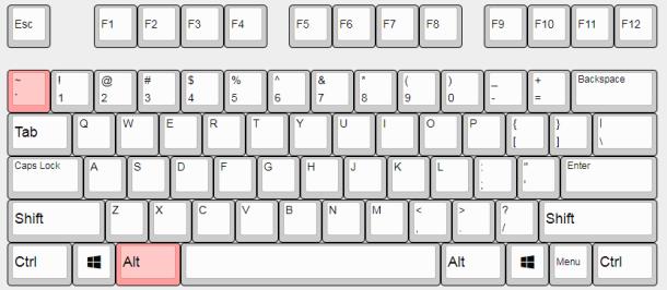 IMEオンオフの違い。英語配列はAlt押しながら左上のキーを押す