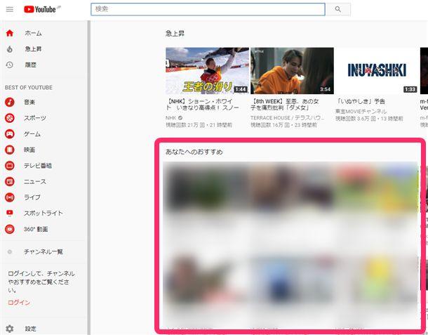 YouTubeトップページの「あなたへのおすすめ」に視聴履歴や動画のジャンルによっておすすめの動画が表示される。