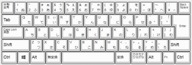 Realforce R2日本語配列のキー配列。スペースキーが長い。