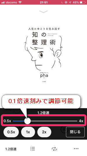 audiobook.jpアプリでは0.1倍速刻みで速度調節できる。