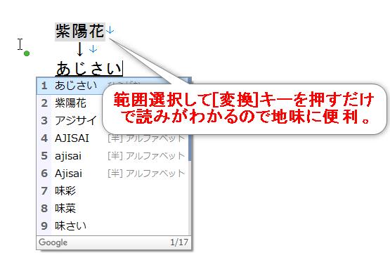 変換キーを使えば読みのわからない漢字をすぐに調べることができる